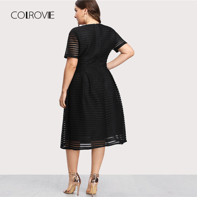 COLROVIE Plus Size Black Pleated High Waist Striped Mesh Sheer Sexy Dress Women Autumn Party Dress Elegant Long Dresses 1