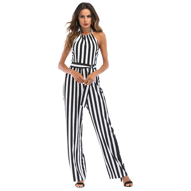 b1af3b6b9fd 2018 Summer Women Chiffon Striped Jumpsuit Sexy Vintage Sleeveless Sashes  Halter OL Style Bodysuit Female Playsuit Romper Mujer