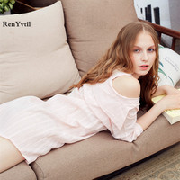 RenYvtil New Autumn Creative 100 Off Shoulder Shirt Dress Women Three Quarter Comfortable Nightdress Female Leisure