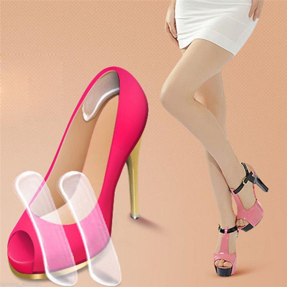 1Pair Women Fashion Silicone Gel Heel Cushion Protector Shoe Insert Pad Insole Best Gift High Heel Insole Shoe Cushion