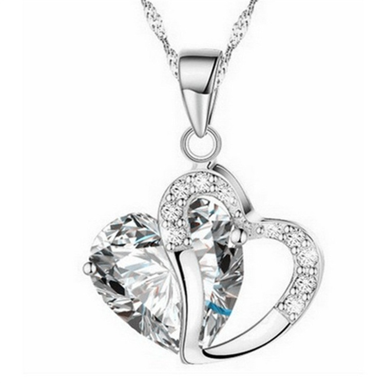 Ladies Heart Necklace - clear