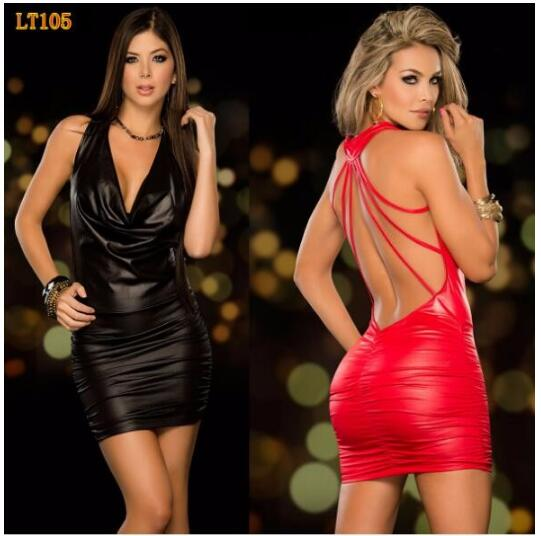 1 piece Sexy <font><b>PVC</b></font> Leather Latex <font><b>Dress</b></font> Red Shiny <font><b>PVC</b></font> Halter Sleeveless Catsuit Erotic Bondage Pleated <font><b>Dress</b></font> Clubwear Costume image