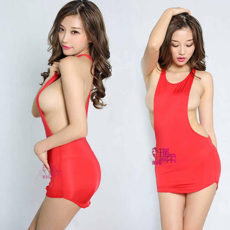 Sexy col en v profond soie de glace voir à travers Micro Mini robe transparente sans manches moulante MINI robe Club fantaisie vêtements érotiques F15