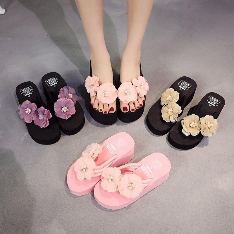 6CM Handmade Flower Women Flip Flops Pearl TPR Non slip Summer Sandals Wedges Women Slippers 35 42 in Flip Flops from Shoes