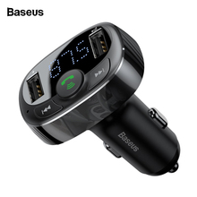 Baseus 3.4A Dual USB Car Charger Kit Handsfree FM Transmitter Aux Modulator Audio MP3 Player Bluetooth Car USB Charger Charging baseus bluetooth 4 2 car charger kit fm transmitter handsfree audio mp3 player 3 4a dual usb aux modulator mobile phone charger