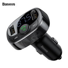 Baseus 3.4A Dual USB Car Charger Kit Handsfree FM Transmitter Aux Modulator Audio MP3 Player Bluetooth Car USB Charger Charging(China)