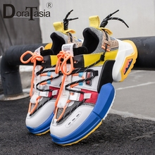 DORATASIA 2019 New INS Hot Brand Dad Shoes Woman mixed-color Platform Sneakers Women Fashion Girl Tennis Shoes Woman Flats Women woman sneakers metallic color woman shoes front lace up woman casual shoes low top rivets embellished platform woman flats brand