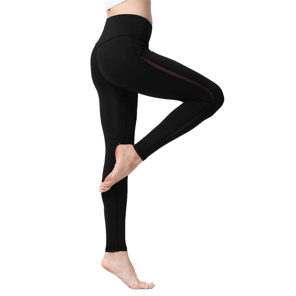 477b0b1a0c1 Women Leggings High Waist Push Up Sexy Mesh Quick Dry Elasticity Slim Sport  Gym Tights Training Fitness Yoga Running Pants 2018