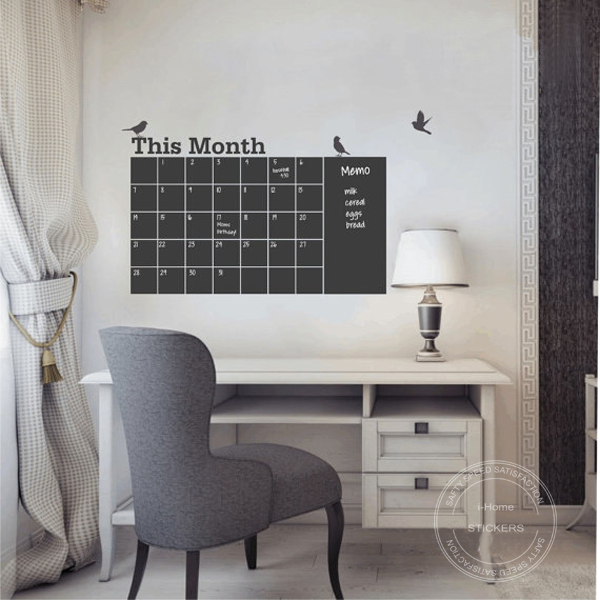 Removable Chalkboard Wall Decals Calendar Decor Wall Sticker.Monthly ...