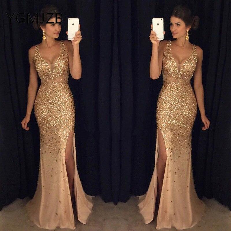 b2849092441c1 Luxury Long Evening Dresses 2019 Mermaid V-neck Beaded Crystal High Side  Split Saudi Arabic Women ...