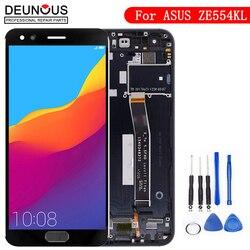 Tela para asus zenfone 4 ze554kl lcd 2017, painel de toque, digitalizador, montagem com moldura para zenfone 4 ze554kl z01kd exibição de tela