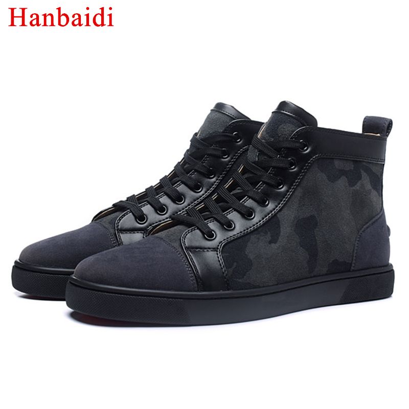 Hanbaidi Luxury Brand Cool Camouflage Mens Runway Loafers High Top Lace Up Outdoor Flats Tenis Masculino Adulto Mens Sneakers 46 hanbaidi luxury handmade string beads mens sneakers runway genuine leather white low top mens casual shoes round toe flats men