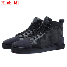 Hanbaidi Luxury Brand Cool Camouflage Mens Runway Loafers High Top Lace Up Outdoor Flats font b
