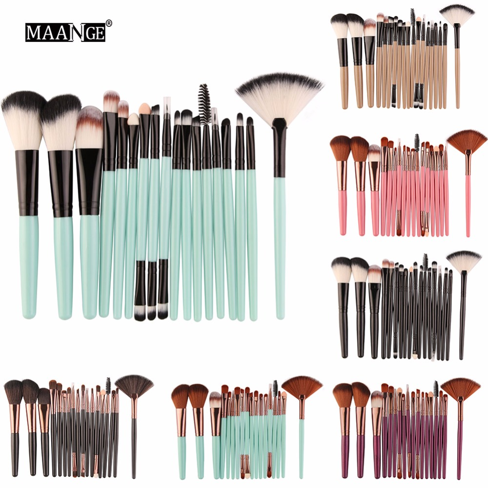 18pcs Cosmetic Makeup Brushes Set Blusher Eye Shadow Brow Lip Powder Foundation Make up Brush kit Beauty Essentials MA099 vander 5pcs pro lollipop shaped makeup brushes set powder foundation eye shadow beauty face lip blusher cosmetic brush blending