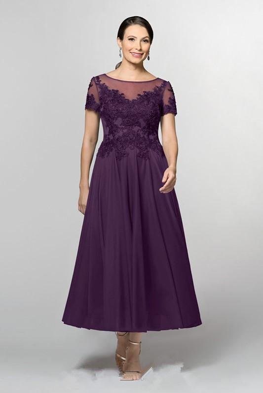 Фиолетовый Кружева шифон линии Чай Lengt платья матери невесты с Рубашка короткими