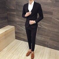 3pcs 2017 new suit men latest coat pant designs korean suits for men one button slim fit mens suits casual tuxedo blazer set