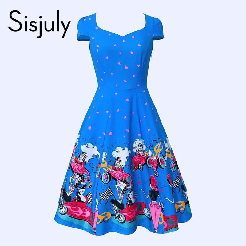 Sisjuly Women S Vintage Dress Bule Color Print Short Sleeve Retro Vintage 1950s 60s Rockabilly Floral