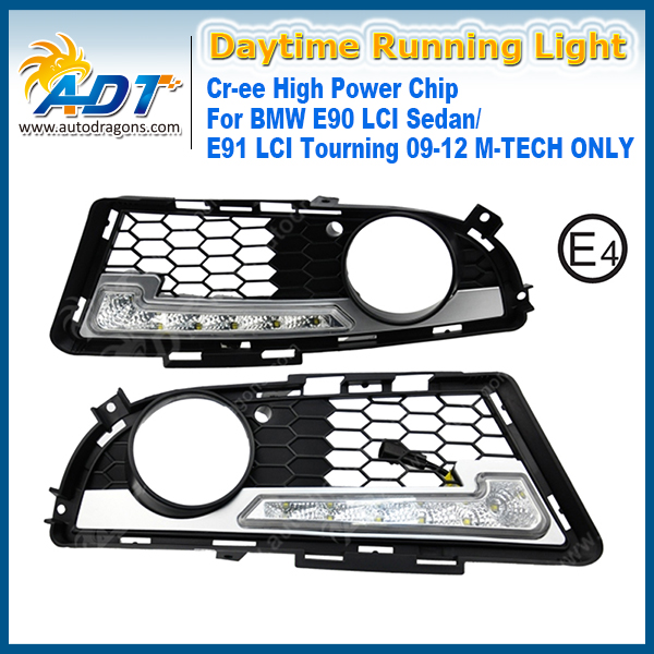for BMW E90 LCI Sedan/ E91 LCI Tourning 09-12 M-TECH Only LED Car Daytime Running Light 6W*2 Cr ee High power Headlights DRL high quality light high power led daytime running lights for bmw e90 lci 3 series sedan 15w 2009 2012 freeshipping