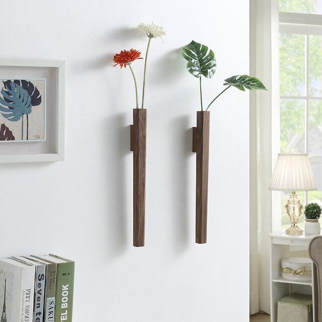 Nordic Handmade Solid Wood Wall Flower Vase 4