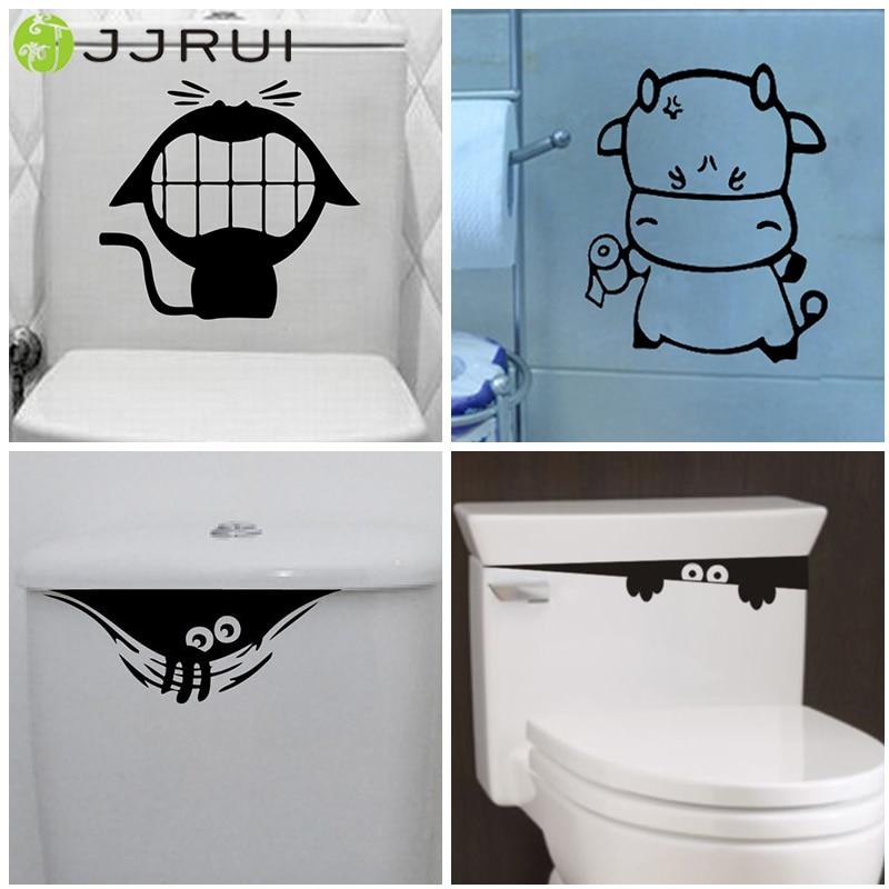 Funny Toilet Peek Sign Sticker: JJRUI DIY Removable Wallpaper Toilet Seat Sticker Funny
