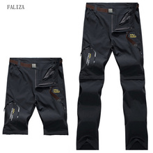 FALIZA 6XL Summer High Stretch Waterproof Mens Pants Quick Dry Pants Removable Leg Male Trousers Elastic Breathable Casual pants