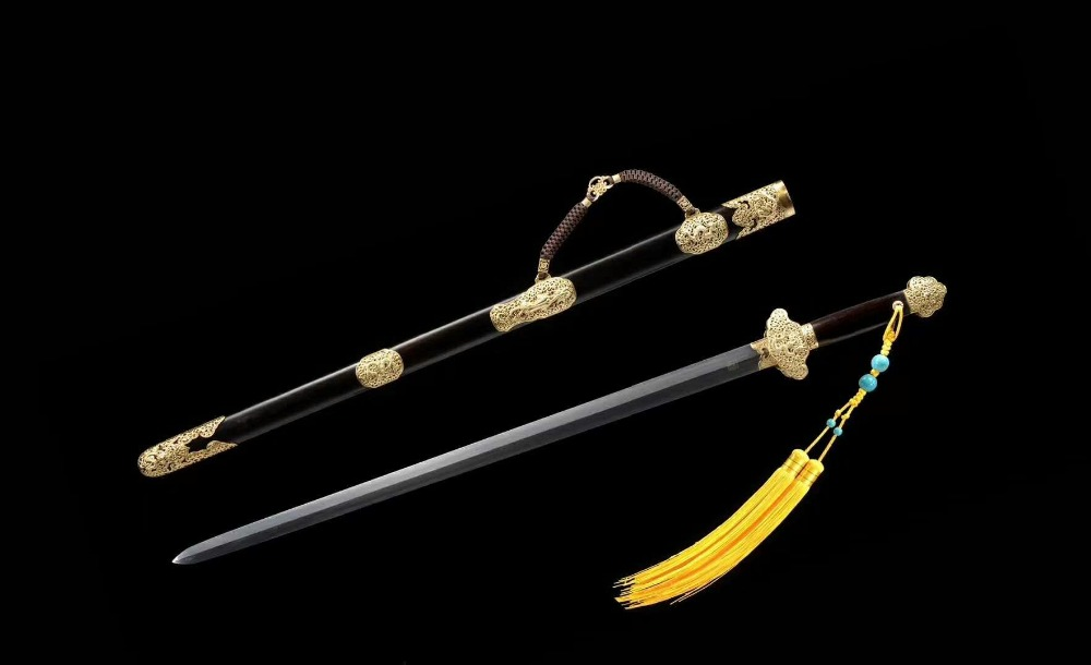 Rare Old Chinese Bailian pattern steel sword ,Valuable ebony scabbard, best collection&Decoration,free shippingRare Old Chinese Bailian pattern steel sword ,Valuable ebony scabbard, best collection&Decoration,free shipping