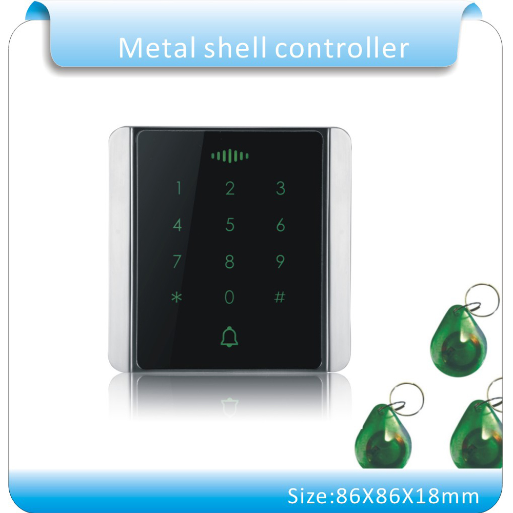 The newest metal shell 86x86mm 125KHZ RFID access controller, access control system keyboard with 10pcs jade style keyfobs metal shell touch keyboard 125khz rfid access control system entrance guard password and rfid 10pcs crystal keyfob