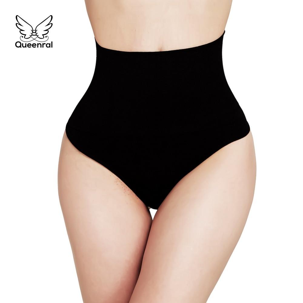 Women High Waist Briefs 2 pieces Waist Trainer Tummy Slimming Control Underwear  Body Shaper Thong Butt Lifter Seamless Panties