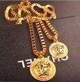 Marca de Moda 24 k Oro Cadena Hombres Collar Trenzado de Lujo Colgantes de Cadena Larga de la Joyería de Hip Hop Hombres Mujeres Regalo iftec