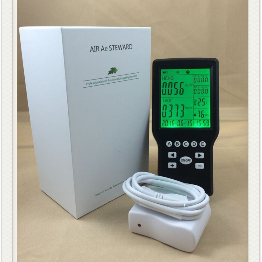 HCHO (CH2O) Temperature Humidity %RH Formaldehyde TVOC Monitor digital indoor air quality carbon dioxide meter temperature rh humidity twa stel display 99 points made in taiwan co2 monitor