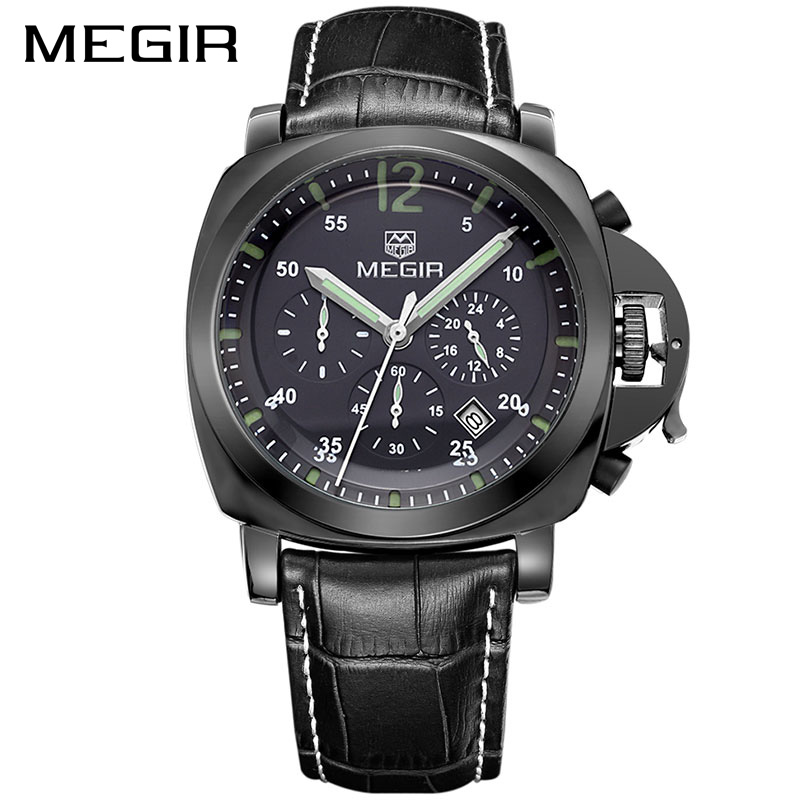 MEGIR Official Erkek Kol Saati Leather Military Watch Men Chronograph Watches Clock Men Relogio Masculino Reloj Hombre for Male digital watch led watch men relogio masculino relogio feminino erkek kol saati women watches sport men watch clock montre homme