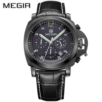MEGIR Official Erkek Kol Saati Leather Military Watch Men Chronograph Watches Clock Men Relogio Masculino Reloj Hombre for Male