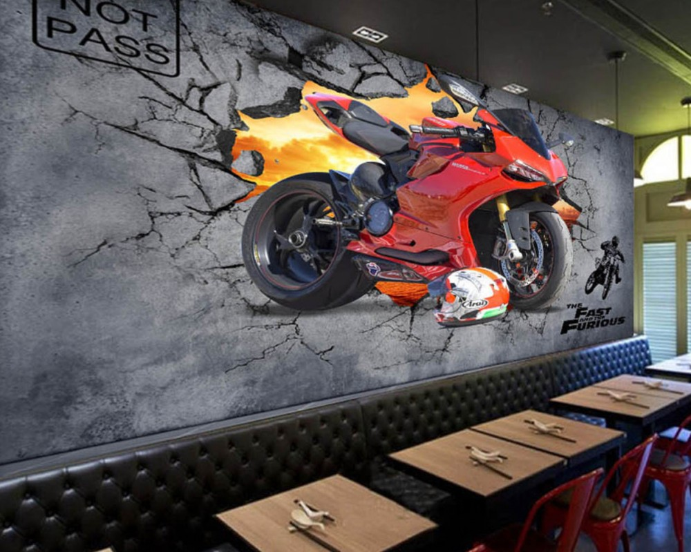 Free Shipping Cool Motorcycle Broken Wall Bar Coffee Shop Custom 3D Decoration Photo Wallpaper Mural Restaurant Wallpaper free shipping watercolor art living room lobby mural fashion salon shop clothing store restaurant lounge bar wallpaper