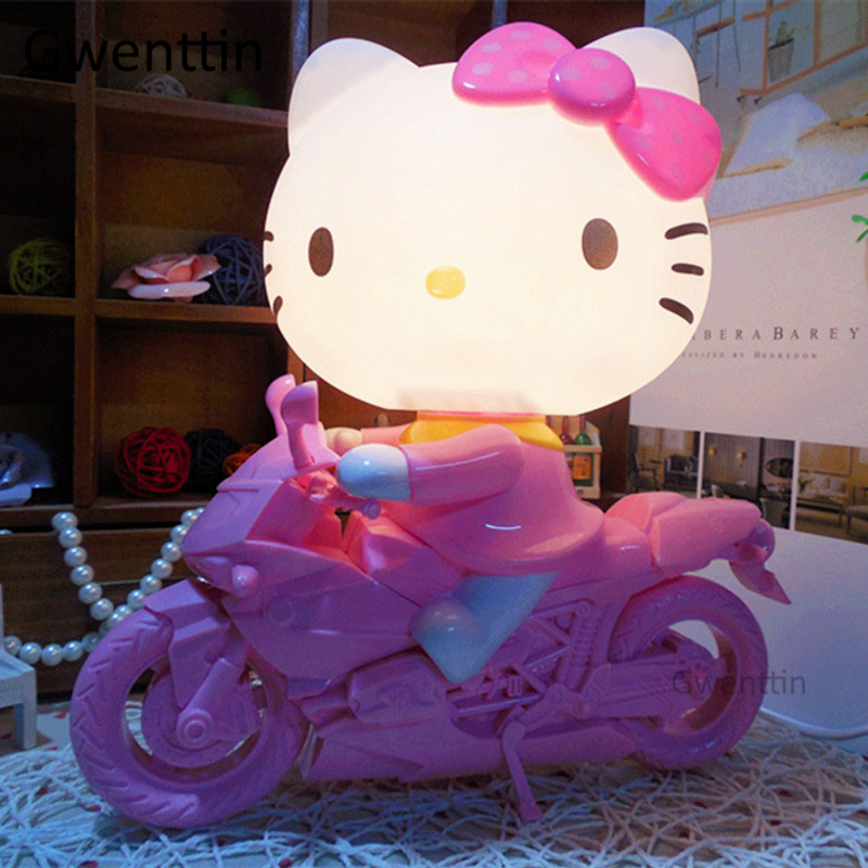 Cartoon Motorcycle Hello Kitty Night Lights Modern Led Night Lamp for Children Bedroom Bedside Kids Baby Lamp Gifts Luminaria