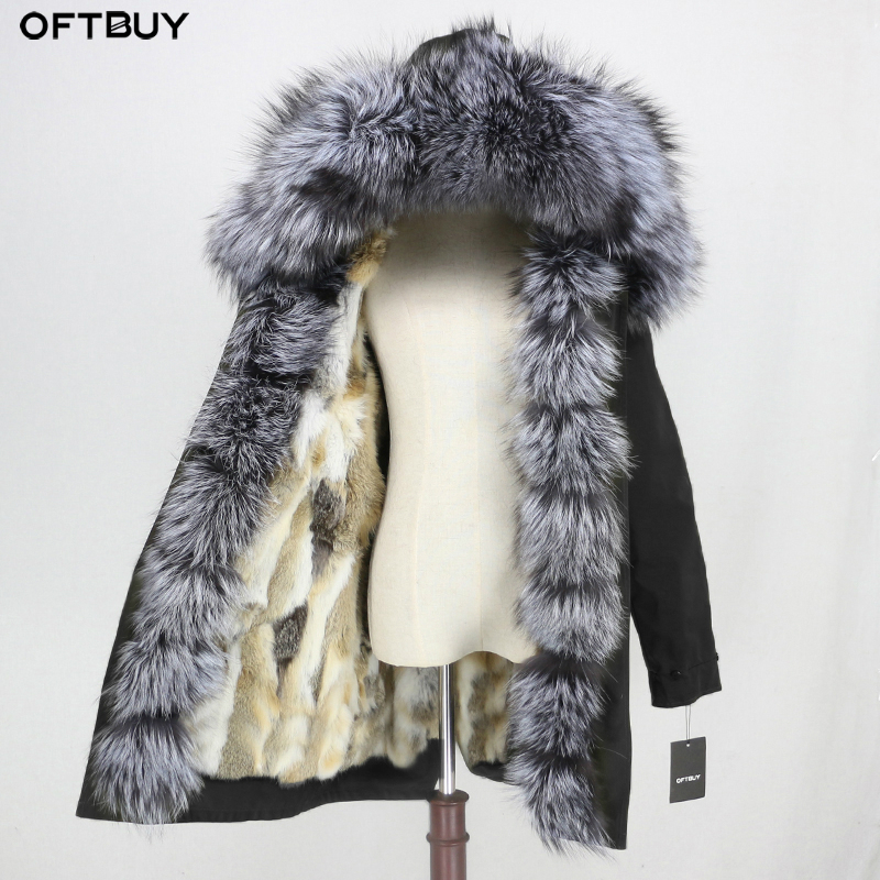 OFTBUY Real Fur Coat Winter Jacket Women Waterproof Long Parka Natural Fox Fur Collar Hood Rabbit Fur Liner Outerwear Detachable
