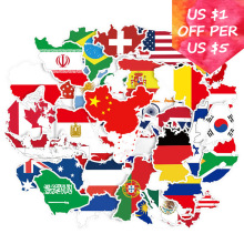 50Pcs World Map Stickers For Soccer Cup Football Suitcase Skateboard Laptop Motorcycle Car Accessories National Flag Stickers flag football world cup body tattoo stickers