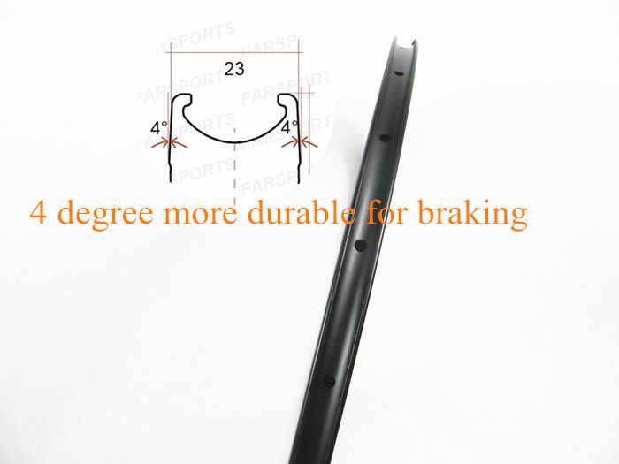 Farsports nouvelle jante en carbone de 23mm de large en forme de U 700C 38/50/60/88, jantes de vélo de route 16-32 H pour roues de vélo