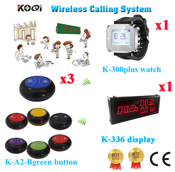 Wireless Pager Bell System Long Range Distance 433.92MHZ Transmitter For Restaurant(1 display+1 watch+3 call button)