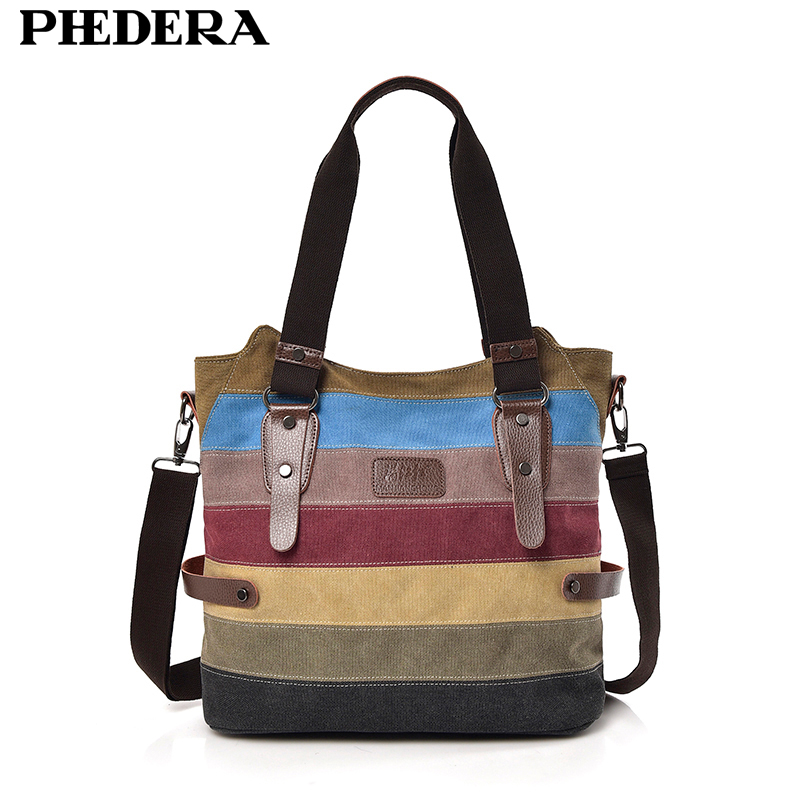 New Fashion Rainbow Women Shoulder Bags High Quality Canvas Casual Female Handbags Striped Ladies Bag Women Purse 2018 Autumn