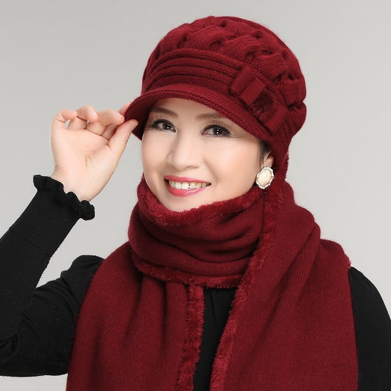 Mother's New Year Gift Rabbit Knit Cap Scarf The Elderly Women's Autumn And Winter Yarn Hat Scarf Female Winter Hat Fur Twinset