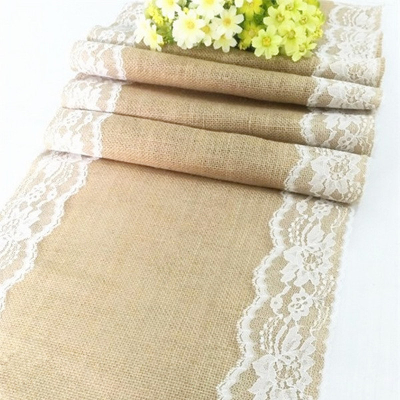 275 35cm Burlap Ivory Lace Hessian Table Runner Jute Country Wedding Party Decoration 10 pieces AA8030