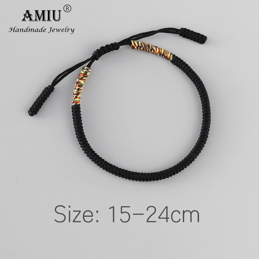 AMIU Tibetan Handmade Buddhist Lucky Bracelets & Bangles For Women Men Black Rope Knots Amulet Gift Tibetan Braided Bracelet