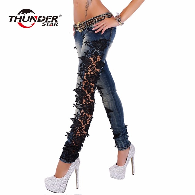 Lace Crochet Splice Low Waist Skinny Jeans