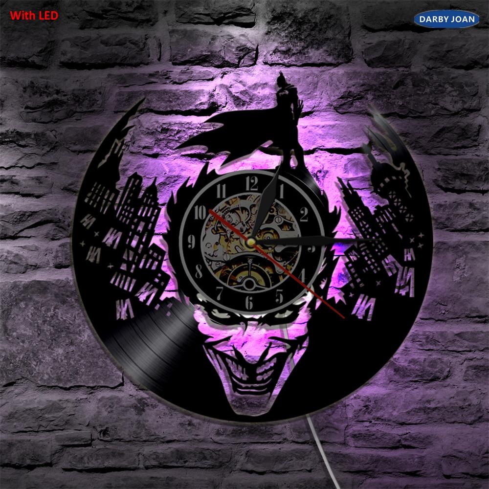 US $21 49 50% OFF|Joker Batman Gotham City Led Vinyl Wall Clock Wall  Lighting Color Change Vintage LP Record Decor Light Remote Controller-in  Wall