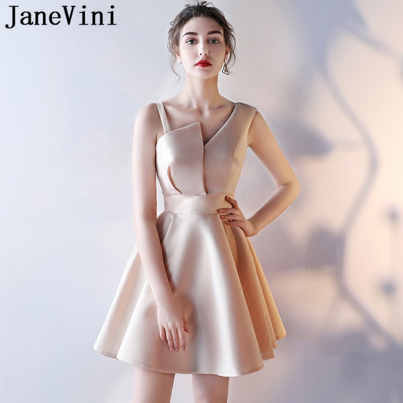 Janevini 2018 Chic Short Women Wedding Guest Party Dress Light