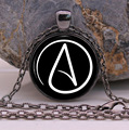 Atheist symbol Black silver Fashion Jewelry Pendant Necklace gifts glass Necklace Pendant Sweater Chain Gift