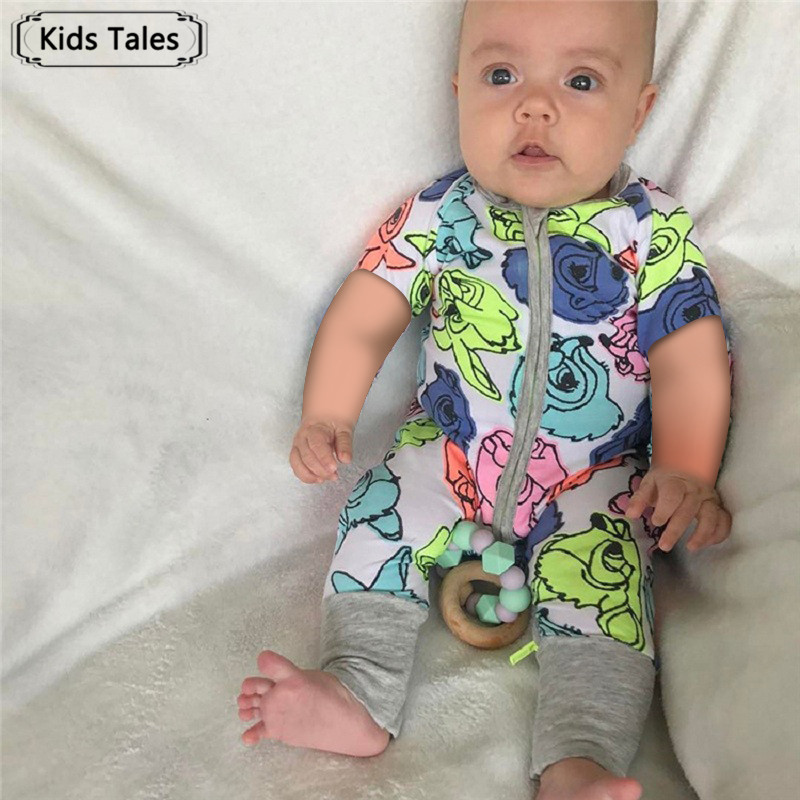 SR324 2018 Summer Children Overalls for Small Boys and Girls Cotton Baby Rompers Clothes Infant Newborn Baby Jumpsuit for 6-24M