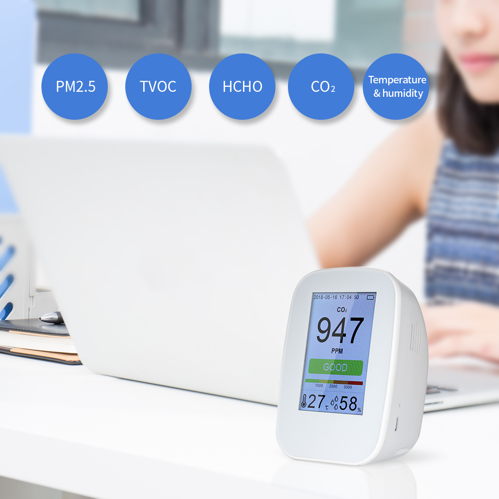Portable Air Quality Detector Digital PM2.5 Gas Monitor LCD TVOC Tester Instrument Meter Air Analyzers with Rechargeable BatteryPortable Air Quality Detector Digital PM2.5 Gas Monitor LCD TVOC Tester Instrument Meter Air Analyzers with Rechargeable Battery