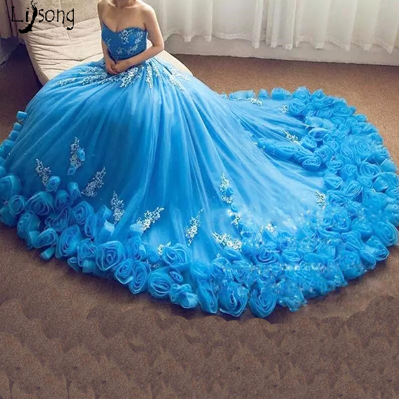 Romantic Sky Blue 3D Flowers Princess Style Appliques Evening Dress for Celebrity Birthday Red Carpet Women