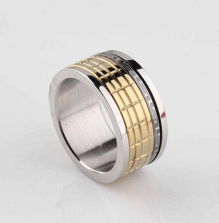 free shipping 11mm Rotation rough Chocolate Great Wall pattern finger rings 316L Stainless Steel for men jewelry wholesale